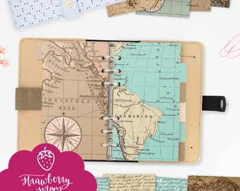 Planner dividers | Vintage maps | Personal size | Fits medium KikkiK and Personal size Filofax | Planner printable download | Organizer