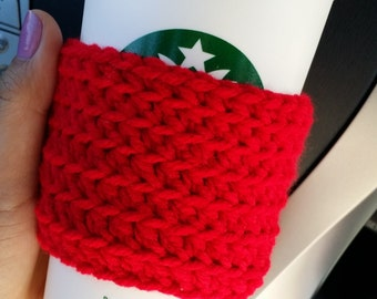 Red Knit Travel Cup Mug Cozies