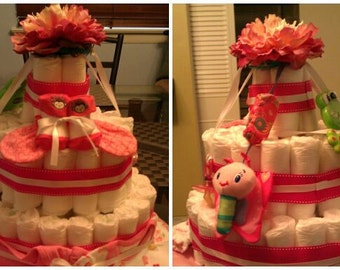 Baby Diaper Cake - Pretty In Pink