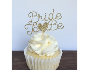 Bride To Be Cupcake Toppers, Bridal Shower Cupcake Toppers (set of 12)
