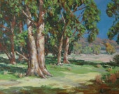 Eucalyptus Trees-22 x 28 inches-Garland Fulghum, traditional, painting,landscape, california, impressionist,beach,western sunlight, sunshine
