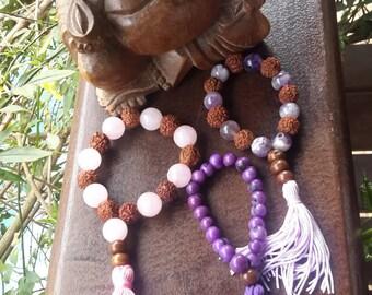 Japamala açai-Mala acai seeds-purple-tassel-buddhism-meditation-wood-Brazilian natural products-boho-Hindu-Bohemian