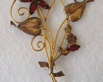 Antique I. Michelson 12k Gold-filled Flower & Stem Brooch - Marked