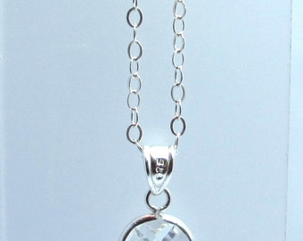 Sterling Silver faceted oval pendant
