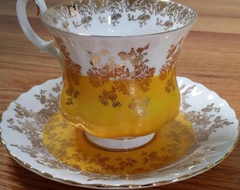 REDUCED Yellow Vintage Teacup Royal Albert