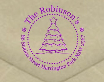 Personalised Christmas Stamp - Christmas Tree Address