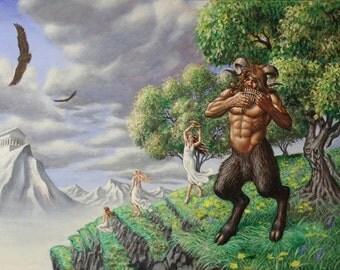 """Greek God Pan in """"Arcadian Elysium"""" - original painting by Andrew Z. Gardner"""