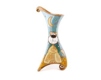 Painted Cat Vase Etsy