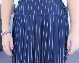 Vintage 90s Francine Browner Pinstriped Navy Blue Pleated Mini Skirt Size 10