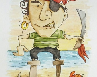 Hand painted-original-Scurvy the Pirate watercolor and ink painting