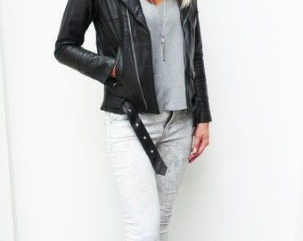 women's black leather jacket leather biker jacket