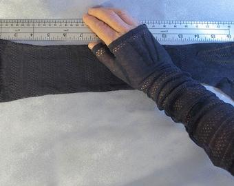 Lacy black elbow length fingerless gloves