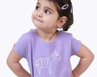 "Kipepeo kids organic shirt ""Zebra"" lavender"