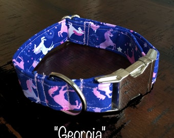 Unicorn Dog Collar; Purple and Pink