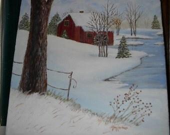 Red Mill Snow Scene