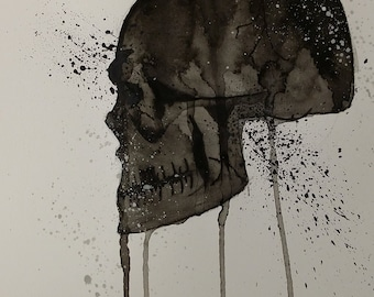Original Watercolour Skull