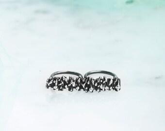 925 Silver ring-brass knuckles knuckles Bark gem