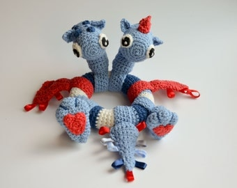 Crochet PATTERN - Two headed dragon - baby rattle by Krawka