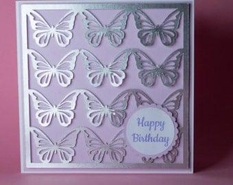 12 Silver Butterflies Handmade Birthday Card, female birthday card, birthday card for her, butterfly birthday card, pastel birthday card