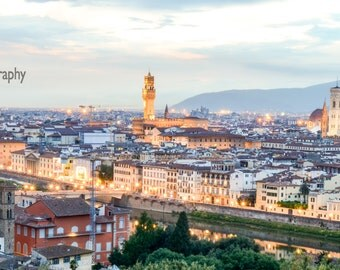Florence photography,instant download photo,Italy photo,Renaissance photo,sunset in Florence,Florence landscape picture,lights in Florence