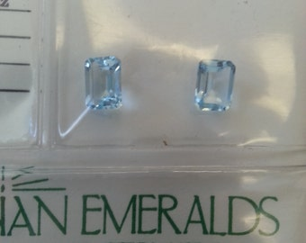 Blue Topaz, emerald cut topaz,2, genuine stones, emerald cut stones