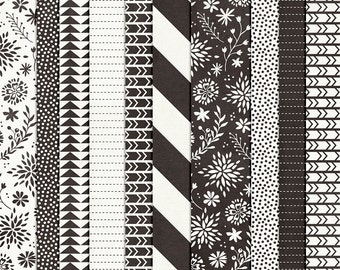This is the Year : Black & White Papers - Everyday Digital Papers - 12 x 12 - Scrapbooking Pack