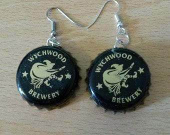 Wychwood Brewery Black Bottle Cap Earrings