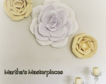 Paper flowers set of 3, Handmade Large paper flowers, paper flower wall, Paper flower home decor
