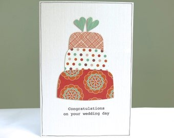Personalised wedding congratulations card - quirky wedding cake card - wedding day civil partnership cards - FREE UK DELIVERY