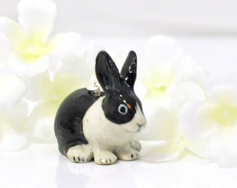Black White Dutch Bunny Rabbit Necklace Oreo - Bunny Necklace - Rabbit Jewelry