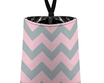 Car Trash Bag // Auto Trash Bag // Car Accessories // Car Litter Bag // Car Garbage Bag - Chevron - Baby Pink and Light Grey Zigzags