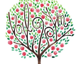 SALE Bloom Original Watercolor Painting Original Watercolor Artwork Written In The Trees