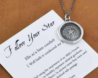Follow Your Star - Antique Wax Seal Necklace - 258