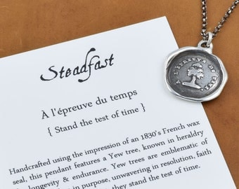 Steadfast - Antique Wax Seal Necklace - Yew Tree Test of time - antique French tree wax seal jewelry - 264