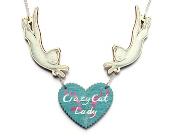 Crazy Cat Lady necklace - illustration - laser cut wood jumping cats and heart pendant wooden