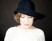 Black Wide Floppy Brim Wool Hat with an Asymmetric Shape, Sewn Fabric Millinery for Women : Ripple Effect