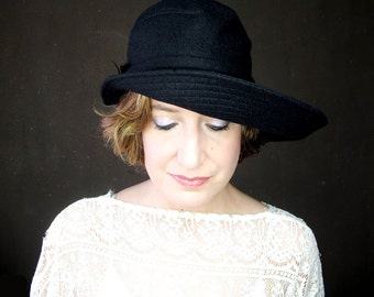 Black Wide Floppy Brim Wool Hat with an Asymmetric Shape, Sewn Fabric Millinery for Women : Ripple Effect