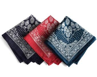 Bandana Print pocket square. Silkscreened paisley bandanna pocket square. Choose navy, red, white & more! Rustic, cowboy chic.