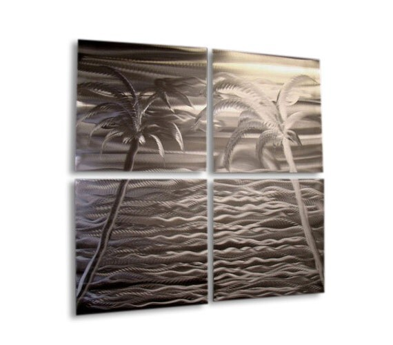 Tropical Silver Metal Wall Sculpture - Modern Metal Wall Art - Beach Decor - Ocean Artwork - Silver Accent - Bahama Mama by Jon Allen
