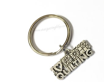 I Love Quilting Keyring Key Chain or Zipper Pull. Or choose from 100's of other charms. Gift for a quilter Gift for someone who loves sewing