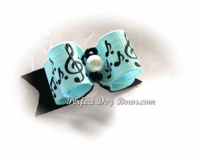 Musical Notes Dog Bow Grosgrain Ribbon Dance Piano