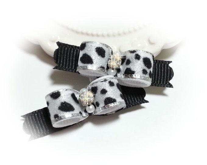 Leopard Dog Bows Dog Bows, Animal Print Bows, Small Puppy Bows, Grooming Bows
