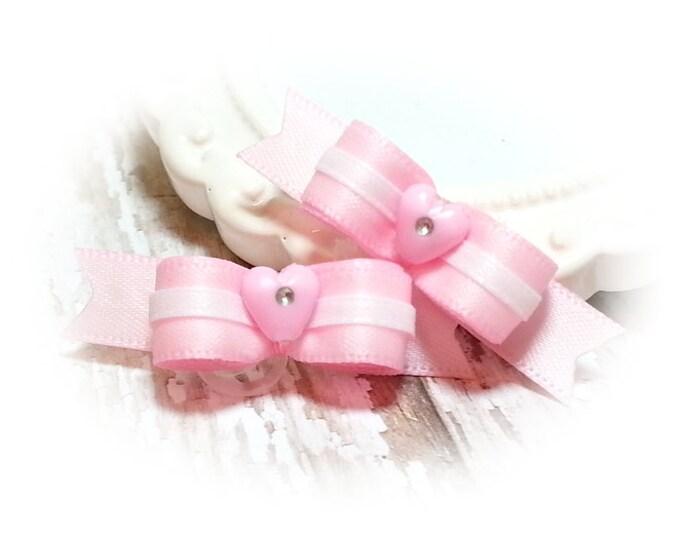 Pink Dog Bows, Girl Dog Bows, Small Pink Pet Bows, Pet Hair Bows, Bows for Small Dogs, Grooming Bows, Pink Heart Beads, Satin Dog Bows