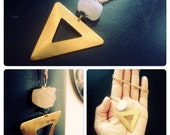 Druzy Quartz Crystal & Brass Triangle Statement Necklace - Druzy Quartz Brass Turquoise Long pendant necklace - geometric necklace - Crystal