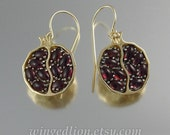 POMEGRANATE garnet 14k yellow gold and silver earrings