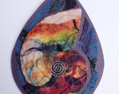 Hand Dyed Felted and Fused Silk and Wool Fibers Wall Piece Nautilus