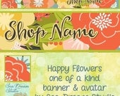 Happy Flowers Etsy Shop Banner and Avatar by Sea Dream Studio one of a kind