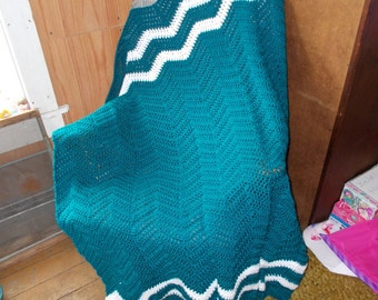 Crochet Ripple Afghan, Crochet Blanket, Chevron, Ready to Ship, Large size, Modern, Real Teal White accents, Throw, Lapghan