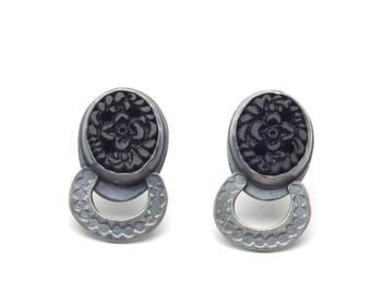 Black Button Pearl Strand Earrings