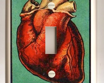 El Corazon Red and Green Lotería Playing Card - Single Light Switch Plate